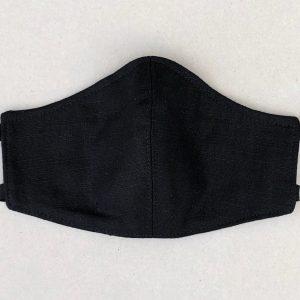black fashion linen face mask
