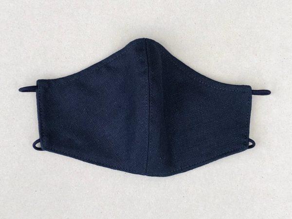 navy travel linen mask